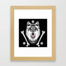 Silver Wolf Geometric Framed Art Print