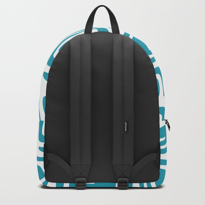 Mid Century Modern Cosmic Abstract 614 Turquoise Blue Backpack