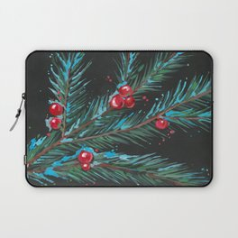 Christmas Tree Branch, Snowy Winter Berries, Contemporary Art Laptop Sleeve