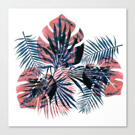 Orange-blue tropical leaves Canvas Print