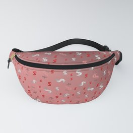pink,silver,dollar, symbol in shiny metall textur Fanny Pack