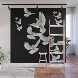 WHITE PEACE DOVES ON BLACK COLOR DESIGN ART Wall Mural