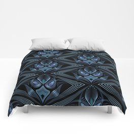 Art Deco 37. Black-blue satin . Comforters