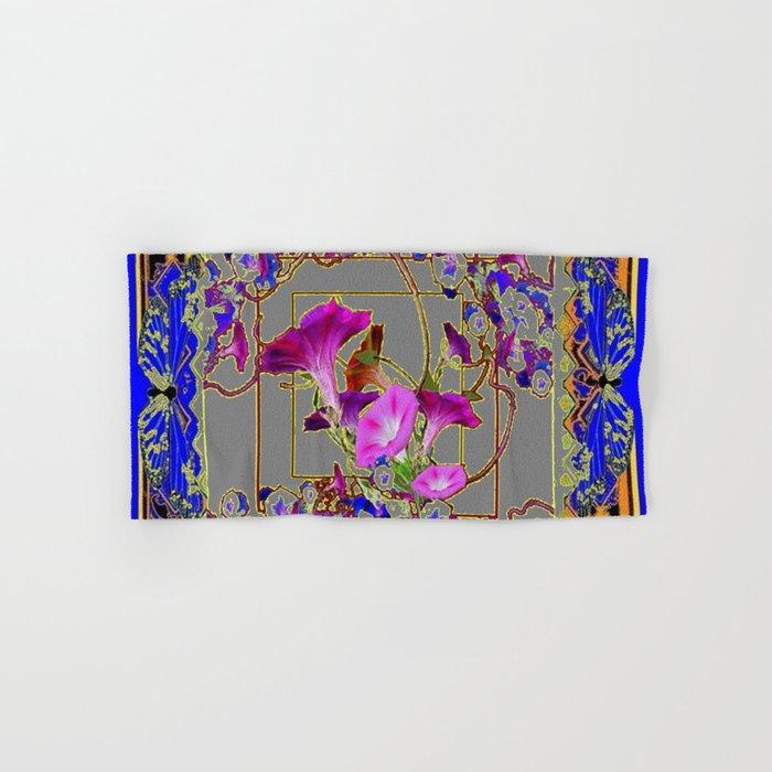 Grey Decorative Blue Purple Vining Flowers Patterns Art Hand Bath Towel By Sharlesart