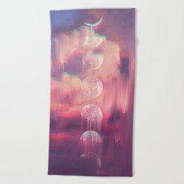 Moontime Glitches Beach Towel