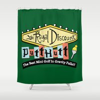 gravity falls Shower Curtains featuring Gravity Falls Mini Golf by pondlifeforme