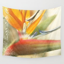 Bird of Paradise - Strelitzea reginae - Tropical Flowers of Hawaii Wall Tapestry