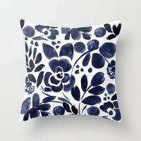 Throw Pillows featuring Navy Floral by Crystal Walen