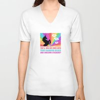 regina mills V-neck T-shirts featuring Regina Sassy Mills | Rainbow kisses and unicorn stickers by CLM Design