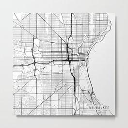 Milwaukee Map, USA - Black and White Metal Print