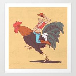 Girl Riding a Cock Art Print