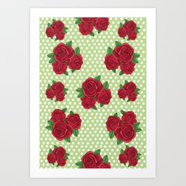 Roses and Polka Dots Art Print
