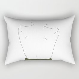 Womans back line drawing - Elly Rectangular Pillow