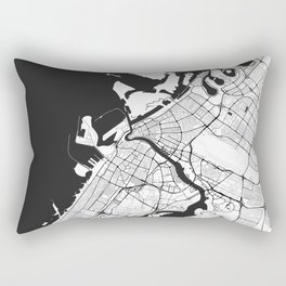 Dubai City Map Gray Rectangular Pillow