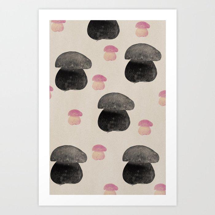 Black mushroom Art Print