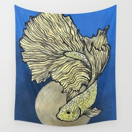Golden Betta Wall Tapestry