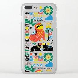 Scandinavian Sloths Clear iPhone Case