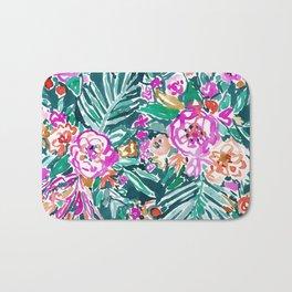 TROPICAL FEELS Begonia Palm Watercolor Pattern Bath Mat