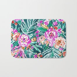 TROPICAL FEELS Begonia Palm Watercolor Pattern Bath Mat