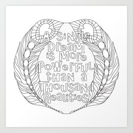 Color Your Own Quote & Feather Mandala Art Print