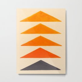 Vintage Scandinavian Orange Geometric Triangle Pattern Metal Print