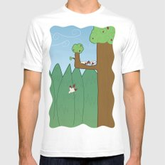 Birds and Trees MEDIUM Mens Fitted Tee White