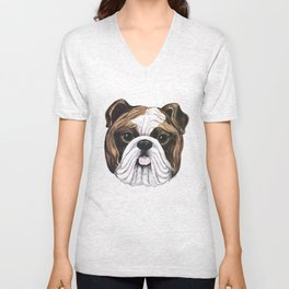Bulldog by Nina Lyman of Dogs By Nina Unisex V-Neck