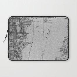 Miami Florida vintage map year 1950, grey usa maps Laptop Sleeve