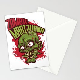 A Unique Detailed Zombie Tee For Yourself? Here's An Awesome T-shirt Saying Zombie Marijuana Design Stationery Cards