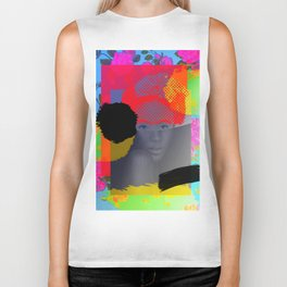 Woman Sited With Hat and Flowers Biker Tank
