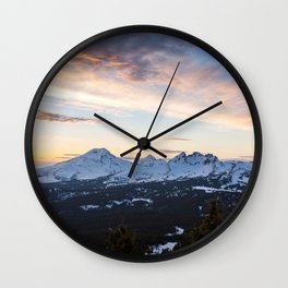 Three Sisters Wilderness Colorful Sunset Wall Clock