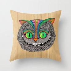 Alice´s Cat Wood Throw Pillow