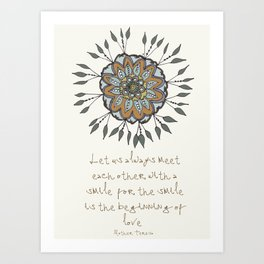 Shamuvel's mandala with a Mother Teresa Quote Art Print