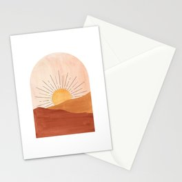 Abstract terracotta landscape, sun and desert Stationery Cards
