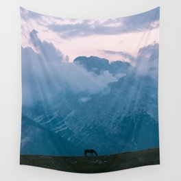 Mountain Sunset Horse - Landscape Wildlife Photography Wall Tapestry
