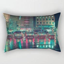 Taxi stop in the rain Rectangular Pillow