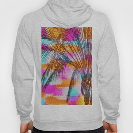 palm tree with colorful painting abstract background in pink orange blue Hoody