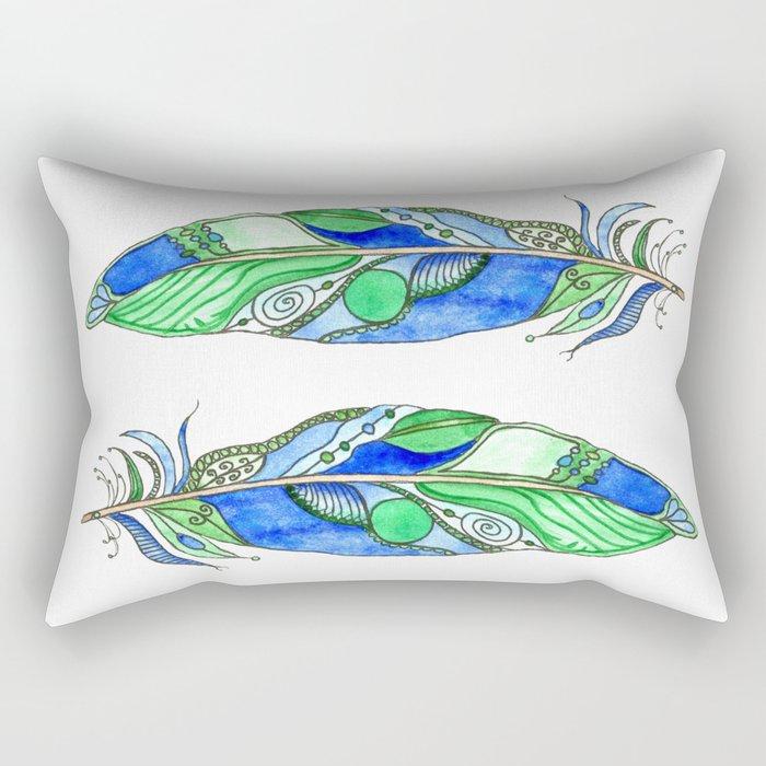 Bohemian Spirit Feathers - Blue & Green Rectangular Pillow