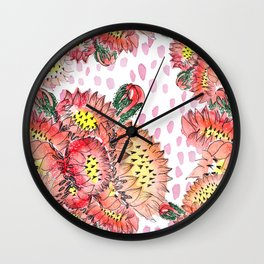 Orange Cacti Flowers Wall Clock