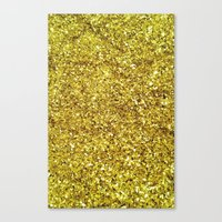 gold glitter Canvas Prints featuring GOLD GLITTER by natalie sales
