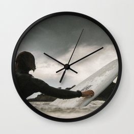 Surf grey photo Wall Clock