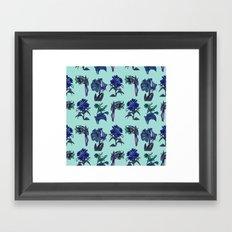 Botanical Flower Pattern   Blue Framed Art Print