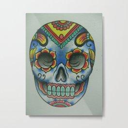 Tibetan Mandala Sugar Skull Metal Print