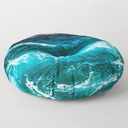 Cool Blue Ocean Waves  Floor Pillow