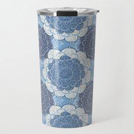Lacy Blue & Navy Mandala Pattern  Travel Mug