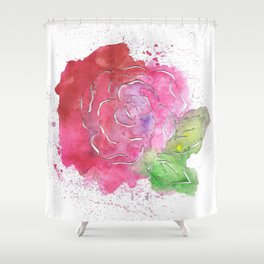 Roses watercolor and papercut Shower Curtain