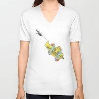 steve zissou V-neck T-shirts featuring This Is An Adventure | The Life Aquatic with Steve Zissou by Scott Erickson