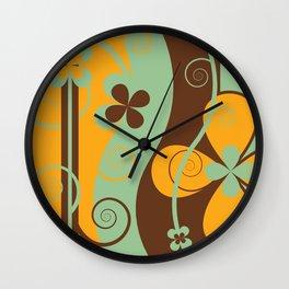 Modern Retro Floral Graphic Art Wall Clock