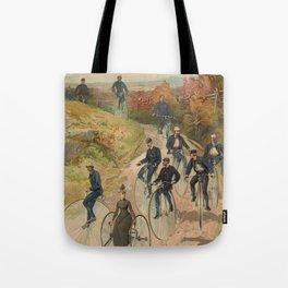 Vintage Bicycle Race 1800s Bike Riders Tote Bag