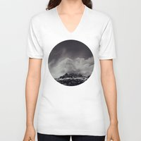 backpack V-neck T-shirts featuring Mountainscape Black and White by Leah Flores